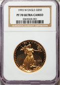 1993-W $50 One-Ounce Gold Eagle PR70 Ultra Cameo NGC. NGC Census: (569). PCGS Population: (167). Mintage 34,369. ...(PCG...