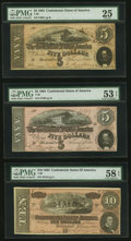 Confederate Notes, T68 $10 1864;. T69 $5 1864, Two Examples.. ... (Total: 3 notes)