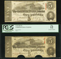 Confederate Notes:1863 Issues, T60 $5 1863, Two Examples. . ... (Total: 2 notes)