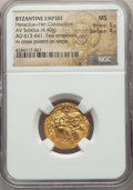 Ancients:Byzantine, Ancients: Heraclius (AD 610-641) and Heraclius Constantine.AVsolidus (4.40 gm).NGC MS 5/5 - 4/5....