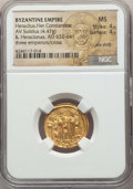 Ancients:Byzantine, Ancients: Heraclius (AD 610-641), with Heraclius Constantine andHeraclonas. AV solidus (4.47 gm). NGC MS 4/5 - 4/5, die shift....