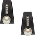 Estate Jewelry:Earrings, Diamond, Cultured Pearl, White Gold, Steel Earrings, Marsh &Co.. ...
