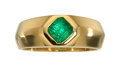 Estate Jewelry:Rings, Gentleman's Emerald, Gold Ring  The ring featu...