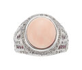 Estate Jewelry:Rings, Coral, Pink Sapphire, Diamond, Gold Ring The r...