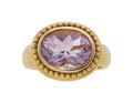 Estate Jewelry:Rings, Amethyst, Gold Ring, Anzie The ring centers an...