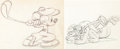 Animation Art:Production Drawing, Canine Caddy Mickey Mouse and Pluto ...