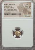 Ancients:Greek, Ancients: MYSIA. Cyzicus. Ca. 550-500 BC. EL sixth stater or hecte(2.61 gm). NGC VF 3/5 - 4/5....