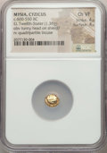 Ancients:Greek, Ancients: MYSIA. Cyzicus. Ca. 600-550 BC. EL 1/12 stater orhemihecte (1.36 gm). NGC Choice VF 4/5 - 4/5....