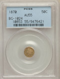 California Fractional Gold , 1870 50C Liberty Round 50 Cents, BG-1024, Low R.4, AU55 PCGS. PCGS Population: (17/117). NGC Census: (2/20). ...