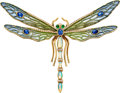Estate Jewelry:Brooches - Pins, Multi-Stone, Diamond, Plique-a-Jour Enamel, Gold Brooch, Tiffany& Co.. ...