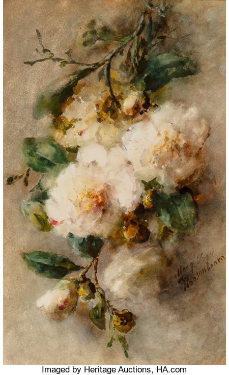 Margaretha Vogel Roosenboom (Dutch, 1843-1896) A spray of camellias hanging from a nail, circa 1892-96 Watercolor on p...