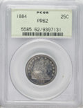 Proof Seated Quarters: , 1884 25C PR62 PCGS. Freckled golden-brown, slate-gray, andblue-green toning adorn this meticulously struck specimen. Only ...
