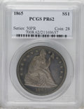 Proof Seated Dollars: , 1865 $1 PR62 PCGS. This razor-sharp specimen is richly toned inpowder-blue, gold, and plum ...