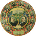 Political:3D & Other Display (1896-present), Taft & Sherman: A Colorful Lithographed Tin Jugate Plate from the 1908 Campaign. Around the border are all the previous Repu...