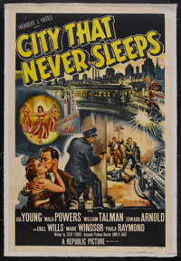 "City That Never Sleeps (Republic, 1953). One Sheet (27"" X 41""). Film Noir. Starring Gig Young, Mala Powers, Wi..."