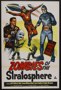 "Zombies of the Stratosphere (Republic, 1952). One Sheet (27"" X 41""). Sci-Fi Serial. Starring Judd Holdren, Ali..."
