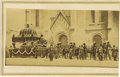 Photography:CDVs, Abraham Lincoln: An Arresting Funeral Image CDV from Philadelphia. His cortège with visible coffin is drawn by a team of hor...