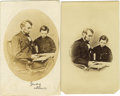 Photography:CDVs, Abraham Lincoln: Ten Varied Cartes de Visite of the Civil War Era. . --Two images of Lincoln and Thad, one bearing ... (Total: 10 )