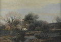 Fine Art - Painting, American:Antique  (Pre 1900), HENRY PEMBER SMITH (American 1854-1907). Cottage by a DuckPond. Oil on canvas. 14 x 20in.. Unsigned. ...