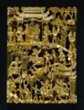 Asian:Othet, ORIENTAL GILT WOOD GOLD CARVING. Framed illustration of a mythicstory. 16.5in. x 11-3/4in.. ...