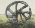 Fine Art - Painting, American:Contemporary   (1950 to present)  , JOYCE GILBERT (American, Late Twentieth Century). One of a group ofthree: The Bullwheel, 1980. Watercolor. 23.5in. x 19...