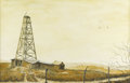 Fine Art - Painting, American:Contemporary   (1950 to present)  , JOSEPH MELANCON (American, b. 1940). West Texas Oil Well,1969. Watercolor. Signed to lower right. 19in. x 29in.. ...
