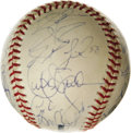 Autographs:Baseballs, 2003 Florida Marlins World Champion Team Singed Baseball. The OML orb that we offer here has 28 signatures from the World S...