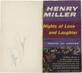 Movie/TV Memorabilia:Autographs and Signed Items, Marilyn Monroe Signed Book Cover. The front cover from a paperbackedition of Henry Miller's Nights of Love and Laughter,...