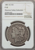 1881-CC $1 Fine 12 NGC. NGC Census: (49/10667). PCGS Population: (51/21734). CDN: $310 Whsle. Bid for problem-free NGC/P...
