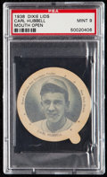 Baseball Cards:Singles (1930-1939), 1938 Dixie Lids Carl Hubbell (Mouth Open) PSA Mint 9....