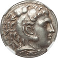 Ancients:Greek, Ancients: MACEDONIAN KINGDOM. Alexander III the Great (336-323 BC).AR tetradrachm (17.16 gm). NGC Choice AU 5/5 - 4/5....