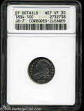 Bust Dimes: , 1834 10C Small 4 VF30--Corroded, Cleaned--ANACS, XF DetailsJR-7....
