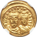 Ancients:Byzantine, Ancients: Heraclius (AD 613-641), with Heraclius Constantine. AVsolidus (4.45 gm). NGC MS 5/5 - 4/5....
