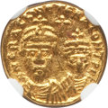 Ancients:Byzantine, Ancients: Heraclius (AD 610-641), with Heraclius Constantine. AVsolidus (4.51 gm). NGC MS 4/5 - 4/5. ...