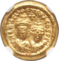 Ancients:Byzantine, Ancients: Heraclius (AD 613-641), with Heraclius Constantine. AVsolidus (4.47 gm). NGC Choice MS 4/5 - 5/5...