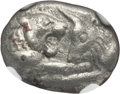 Ancients:Greek, Ancients: LYDIAN KINGDOM. Croesus (ca. 561-546 BC). AR/AE fourréethird stater or trite (2.62 gm). NGC Choice XF 5/5 - 3/5....