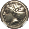 Ancients:Greek, Ancients: IONIA. Phocaea. Ca. 387-326 BC. EL sixth stater or hecte(2.56 gm). NGC XF ★ 5/5 - 5/5....