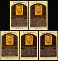 Autographs:Post Cards, Hank Greenberg Signed Hall of Fame Plaque Postcard Collection (5)....
