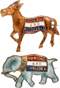 Political:Pinback Buttons (1896-present), Warren G. Harding and James M. Cox: Pair of Enamel Party Mascot Brooches....