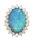 Estate Jewelry:Rings, Black Opal, Diamond, Gold Ring, Tremonti The r...