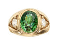 Estate Jewelry:Rings, Demantoid Garnet, Diamond, Gold Ring The ring ...