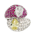 Estate Jewelry:Rings, Diamond, Colored Diamond, Ruby and Gold Ring T...