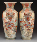 Asian:Japanese, A Pair of Satsuma Porcelain Vases, late Meiji Period. Marks:(Japanese characters indicating left and right positions). 19-1...(Total: 2 Items)