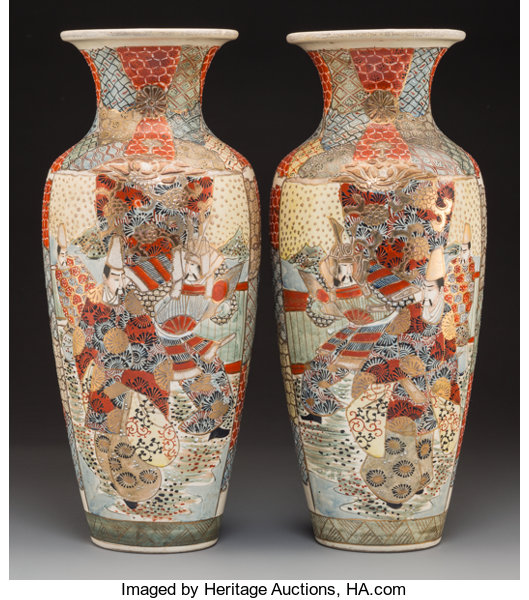 A Pair Of Satsuma Porcelain Vases Late Meiji Period Lot 62126