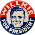 Political:Pinback Buttons (1896-present), Wendell Willkie: Graphic Smiling Sketch Portrait Button....
