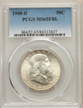 Franklin Half Dollars, (2)1948-D 50C MS65 Full Bell Lines PCGS. PCGS Population: (2203/237). NGC Census: (746/46). CDN: $100 Whsle. Bid for proble... (Total: 2 item)
