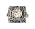 Estate Jewelry:Rings, Diamond, Sapphire, Platinum, White Gold Ring. ...