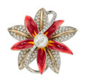 Estate Jewelry:Rings, Diamond, Cultured Pearl, Enamel, White Gold Ring