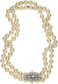 Estate Jewelry:Necklaces, Cultured Pearl, Diamond, White Gold Convertible Necklace. ...