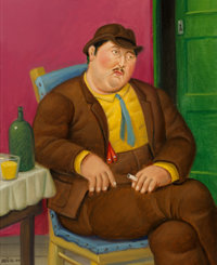 Fernando Botero (b. 1932) Seated Man, 2000 Oil on canvas 15-1/2 x 12-1/4 inches (39.4 x 31.1 cm)<